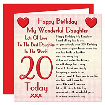 Daughter 20th Happy Birthday Card Lots Of Love To The Best