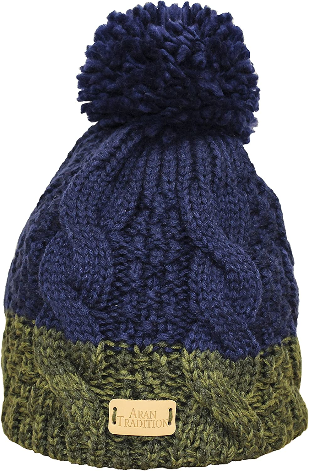 Aran Traditions Womens Ladies Cable Knit Hat Warm Winter Beanie Pom Pom Woolly