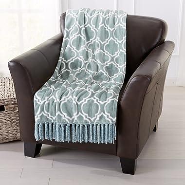 Home Fashion Designs Orleans Collection Geometric Lightweight Ultra Velvet Plush Soft Blanket with Decorative Fringe, Blue Surf
