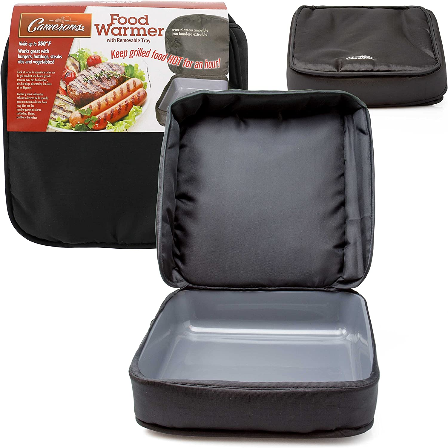 Grill Warmer - Portable Food Carrier - Keeps Food Right Off The Grill Warm Up To One Hour