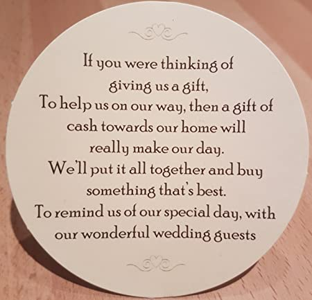 Wedding Money Request Poems For Your Home On Cream Card 100