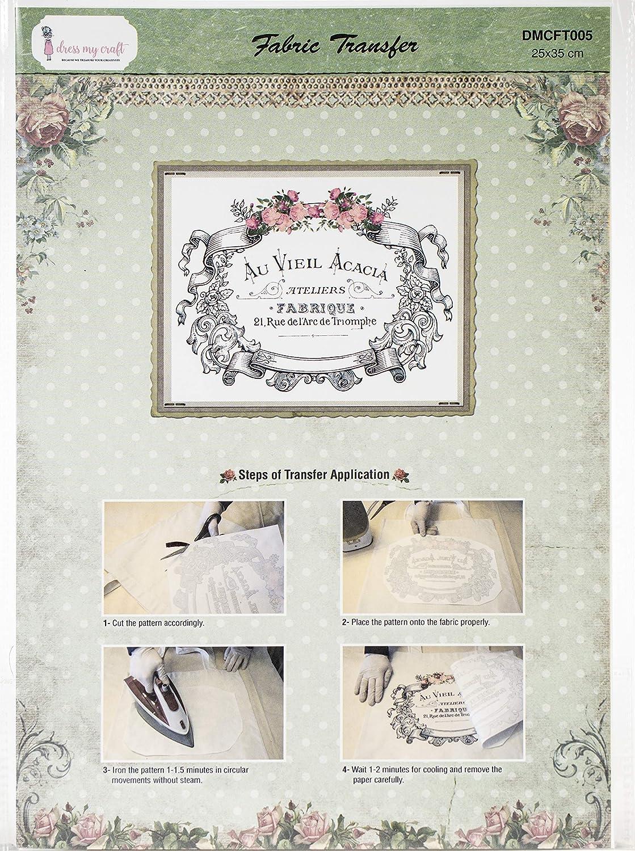 Dress My Craft Fabric Transfer Sheet 24X34cm-Rose, Rose Banner