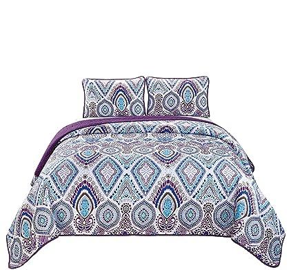 Amazoncom Fancy Linen 3pc Kingcalifornia King Bedspread Quilt Set