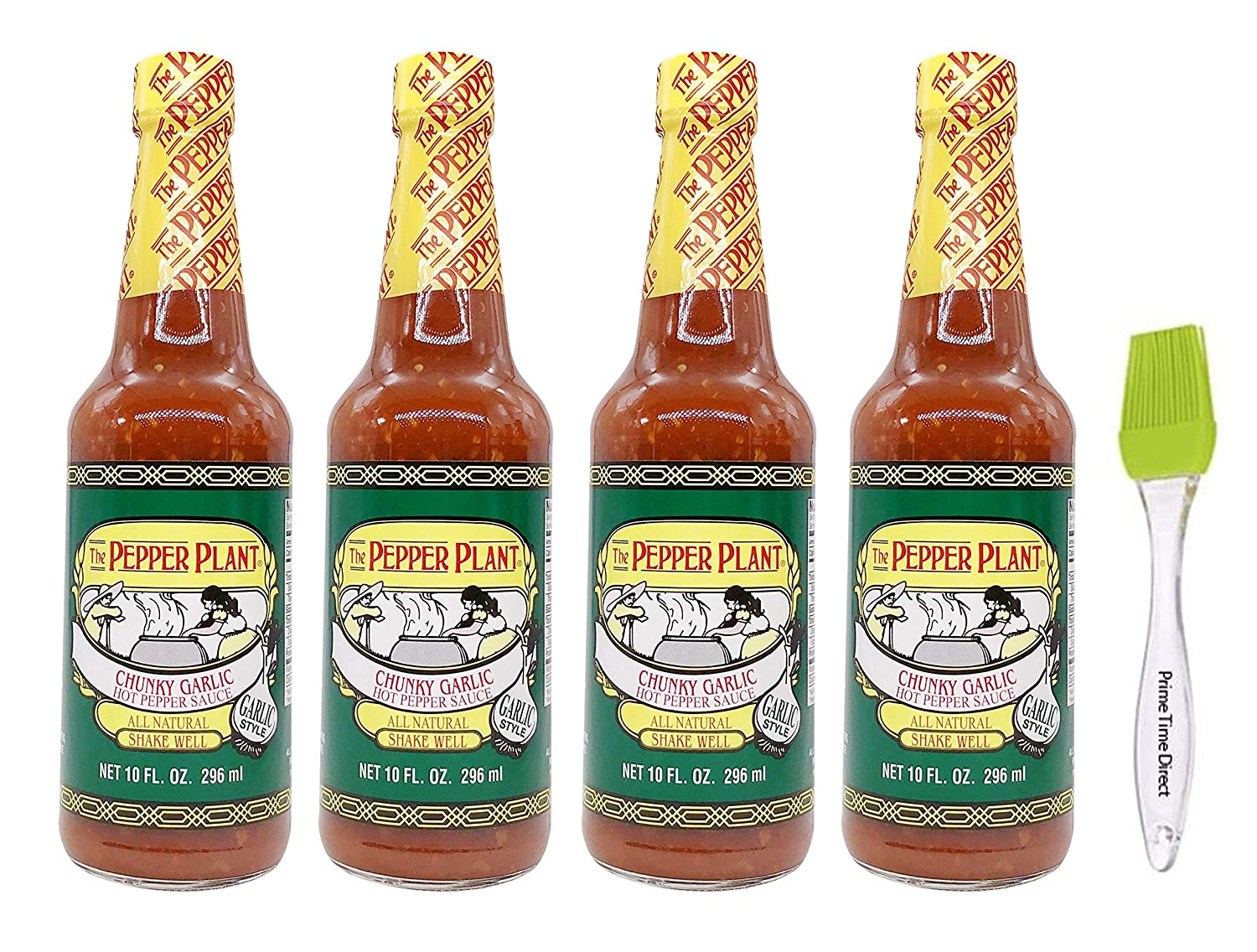 Pepper Plant Chunky Garlic Hot Pepper Sauce 10 oz (Pack of 4) Bundled with PrimeTime Direct Silicone Basting Brush in a PTD Sealed Bag