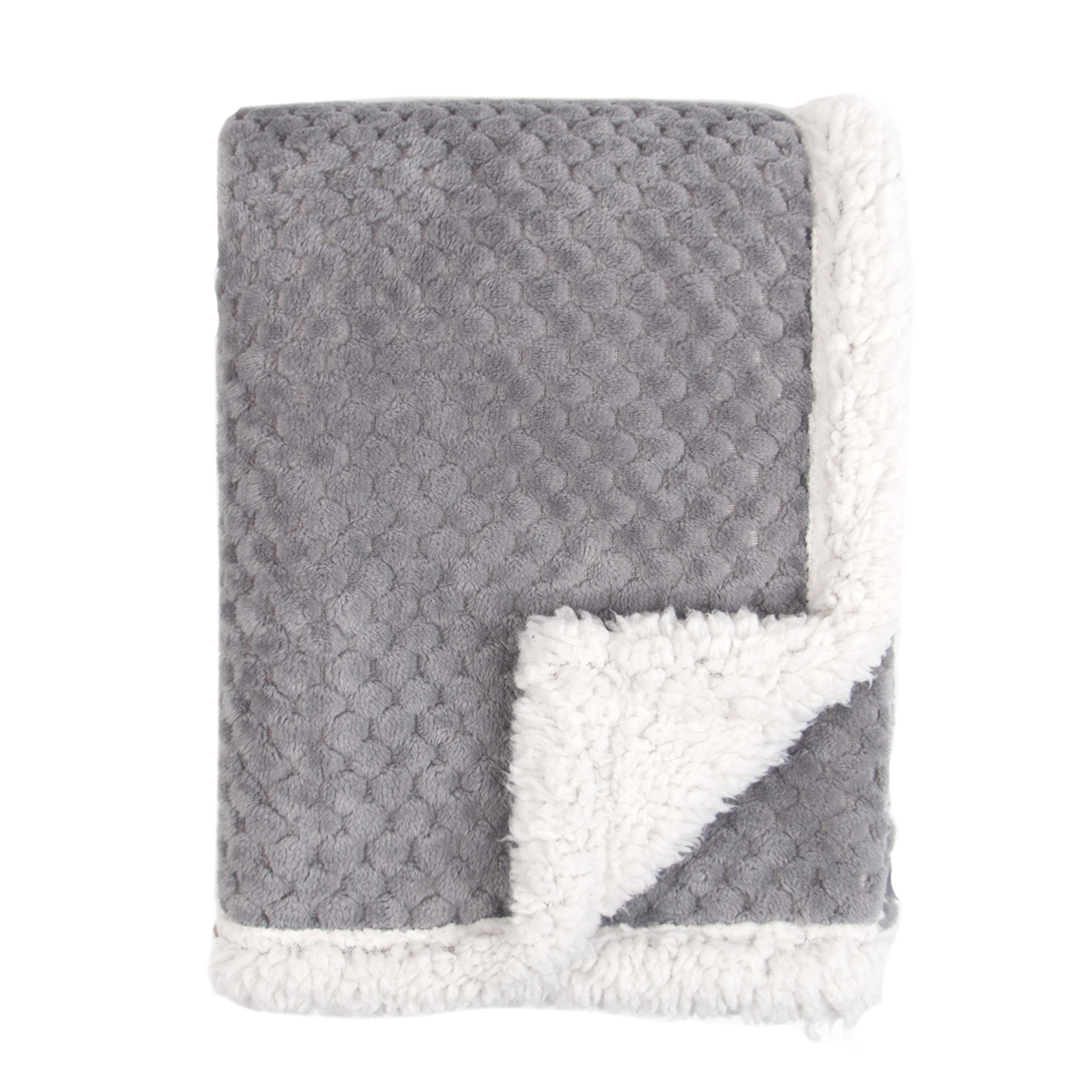 Tadpoles Popcorn Plush and Sherpa Ultra-Soft Baby Blanket, Grey product image