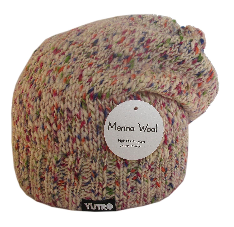 YutroファッションレディースSlouchyフリース裏地100 %メリノウールニット冬ビーニー帽子4色 B015AURC1E Multicoloured-pink Multicoloured-pink
