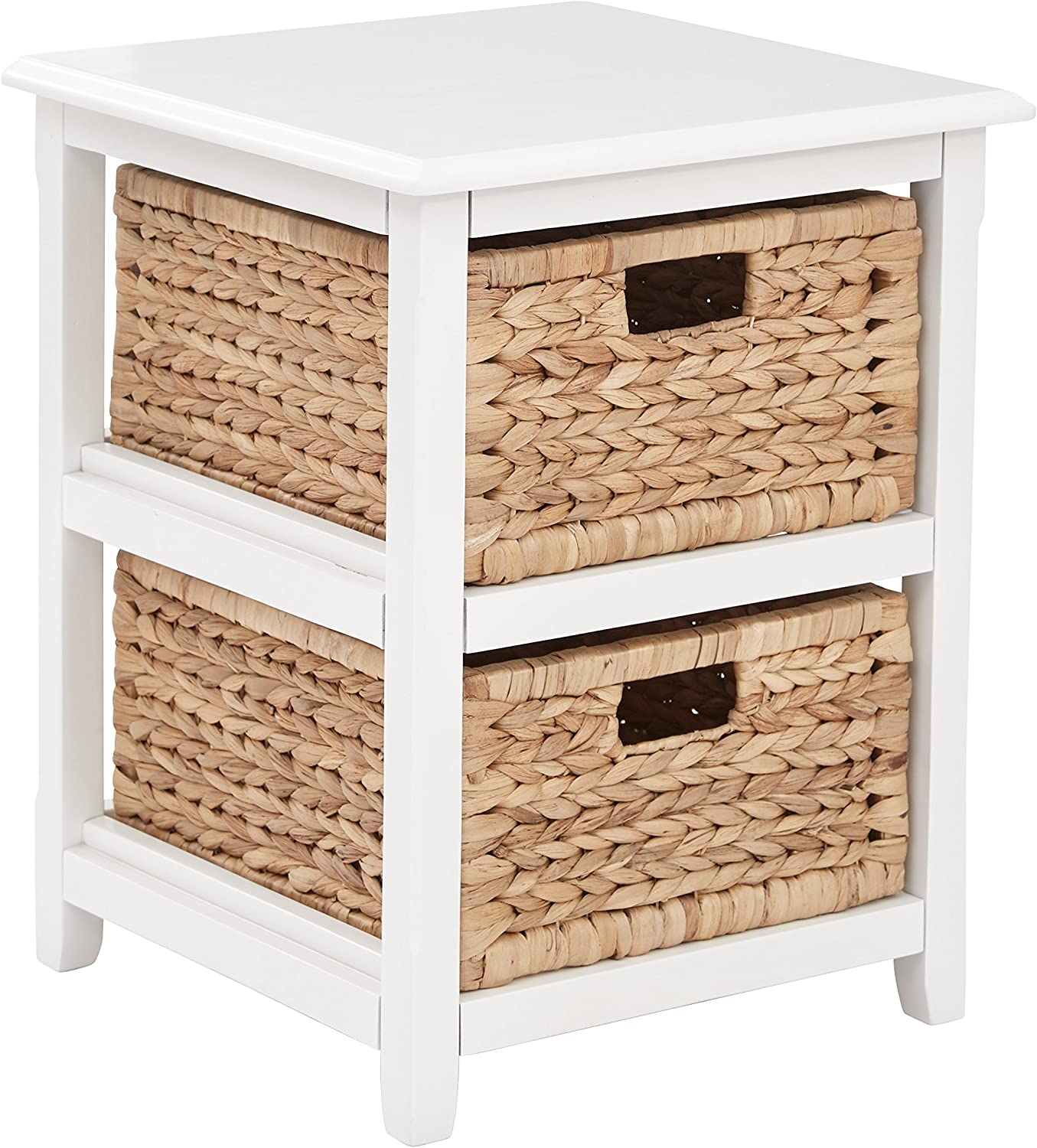 OSP Home Furnishings Seabrook 2-Tier Storage Unit with Natural Baskets, White Finish