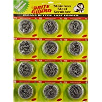 Brite Guard Stainless Steel Multipurpose Scrubber 12 Gm (Grey, 12-Piece)