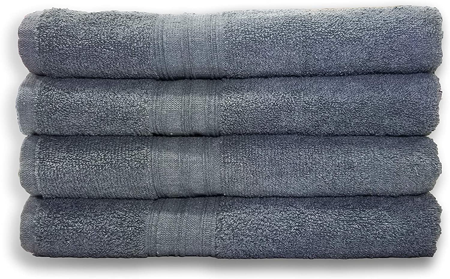 Springfield Linen Bath Towels - Cotton Bath Towels, Pack of 4 Premium Quality 100% Cotton, Size 27x54 Highly Absorbent and Multi- Purpose Bath Towel Set - Machine Washable Grey Bath Towels (Grey)
