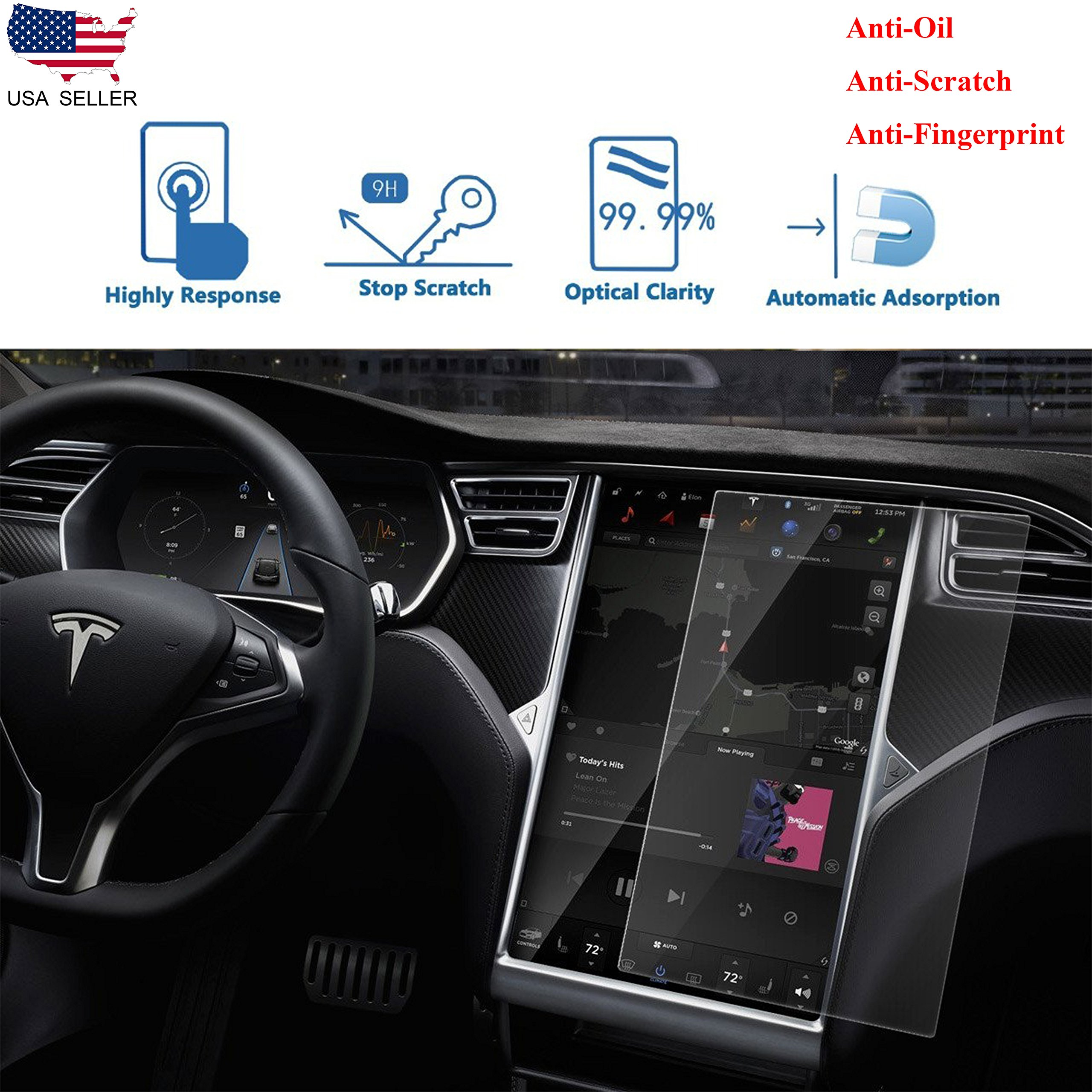 17'' Car Tempered Glass Touch Screen Protector for All Tesla Model S and Model X, 9H Anti-scratch and Shock Resistant