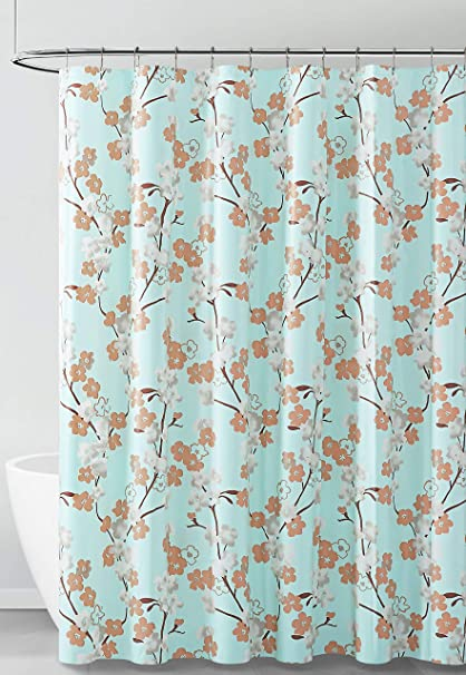 Peva Shower Curtain Liner Odorless Pvc And Chlorine Free Biodegradable Eco Friendly Size 72l Aqua White And Brown Floral Design Furniture Decor