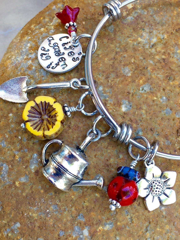 Amazon.com: Garden Bangle Bracelet, Garden Lover\'s Charm Bracelet ...