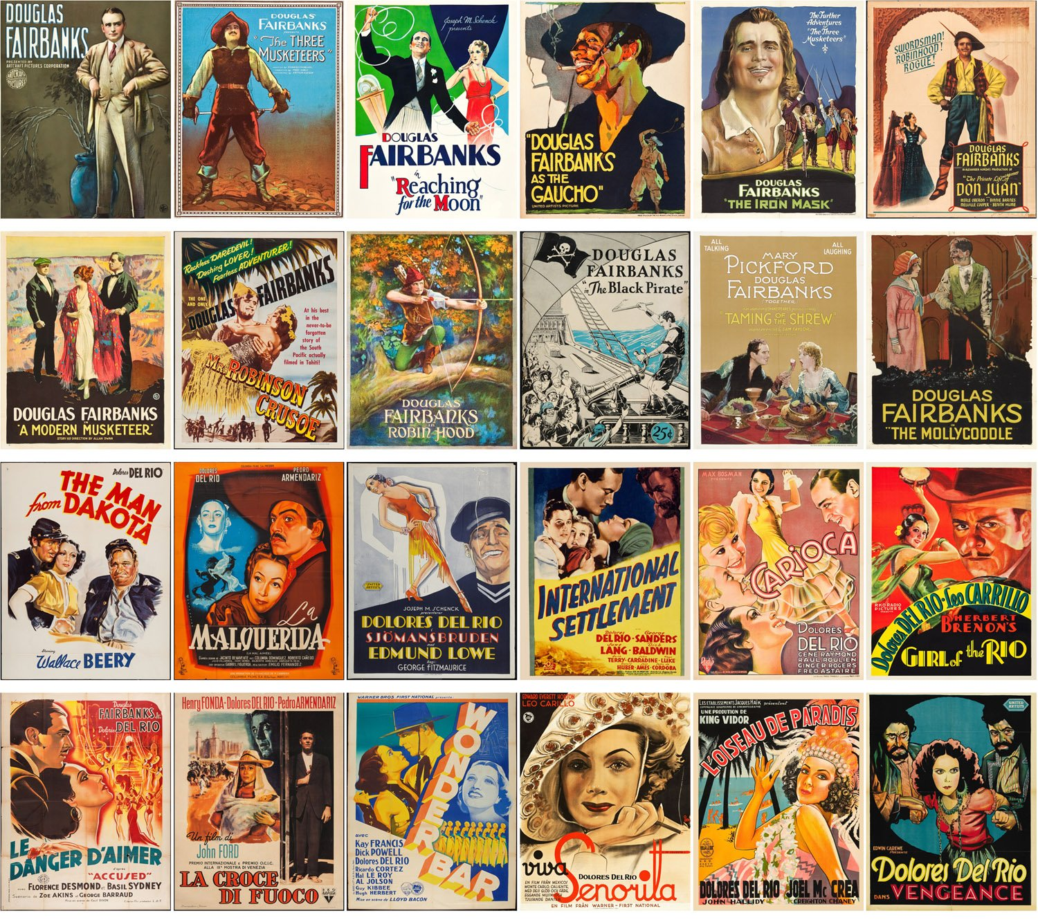 Amazon.com : Postcard Set 24pcs Dolores Del Rio and Douglas Fairbank Vintage Silent Film Movie Posters : Office Products