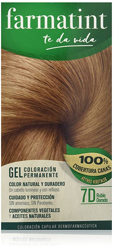 Farmatint Gel 7D Rubio Dorado. Tinte permanente. Cabello natural y color duradero. Sin