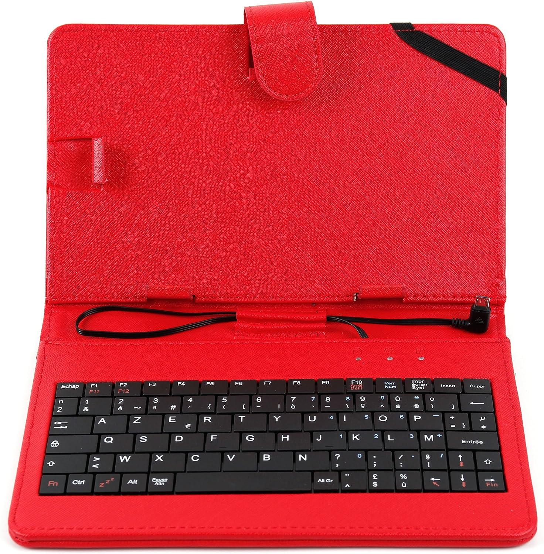 DURAGADGET Etui 7 Pouces Rouge Clavier int/égr/é AZERTY pour Tablette CDiscount CDisplay /écran 7 Pouces par Haier Android 4.4 KitKat Stylet Tactile Bonus