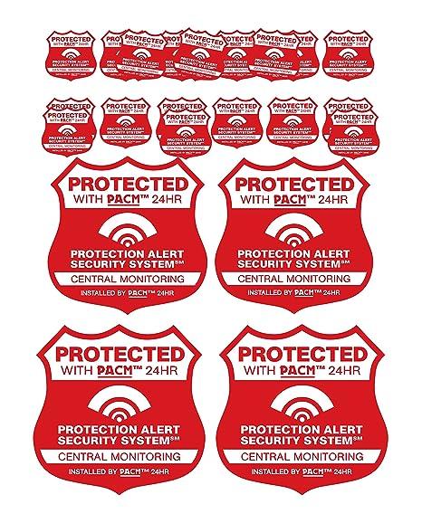 Amazon.com: 4 Rojo Casa Alarma Seguridad señales de & 12 ...