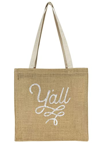 d0a91faecc53 Amazon.com: Texas Tote Bag with Y'all Design in Burlap and Canvas ...