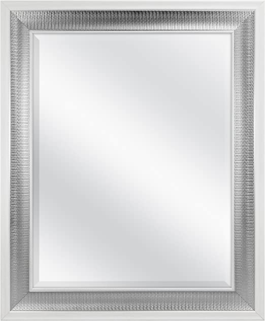 Outside Dimension is 27.5x33.5 MCS 20564 22x28 Sloped Mirror with Dental Molding Detail Silver Finish