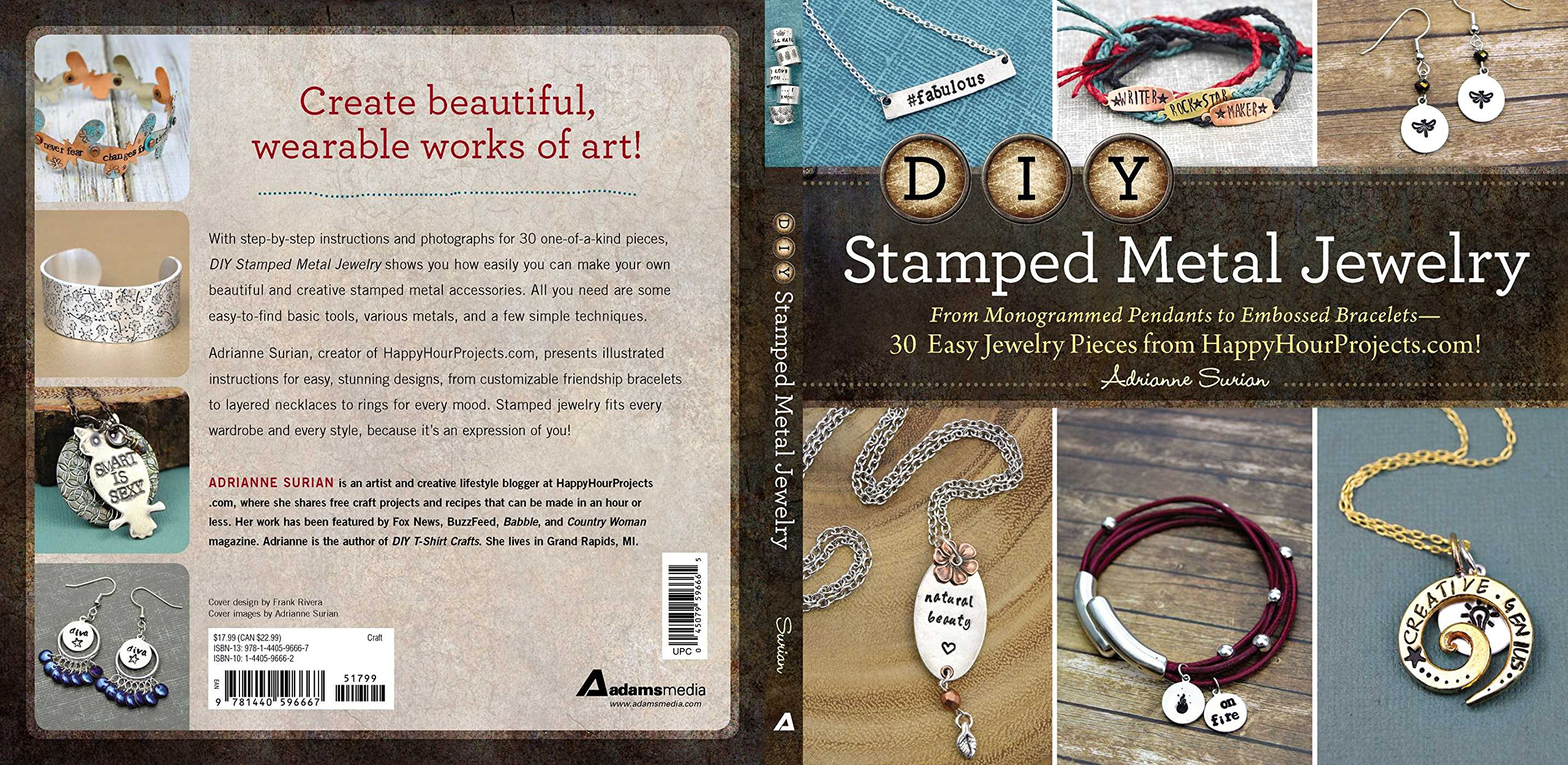Read Online DIY Stamped Metal Jewelry: From Monogrammed Pendants to Embossed Bracelets--30 Easy Jewelry Pieces from HappyHourProjects.com! pdf