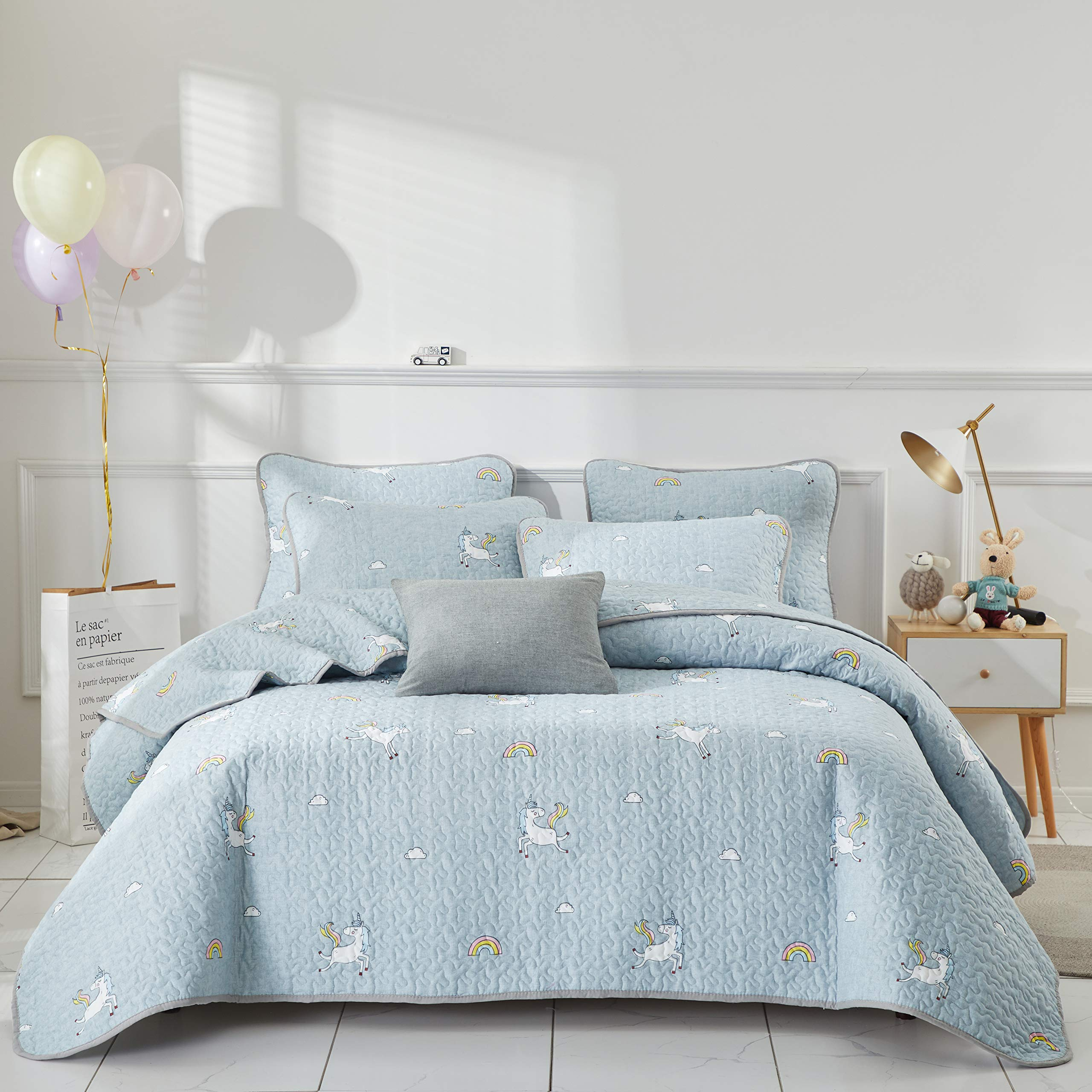 Uozzi Bedding 2 Piece Reversible Gray Quilt Set Twin Size 68x86 Soft Microfiber Lightweight Coverlet Bedspread Summer Bed Cover Set Blanket for Kids Unicorn Style (1 Quilt + 1 Shams)