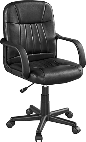 Topeakmart Mid-Back Leather Executive Office Chair Swivel Computer Task Chair Lumbar Support Adjustable Conference Chair Gaming Chair