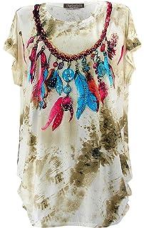 Charleselie94® - Tee Shirt drapé Strass Tunique Grande Taille Beige  Cherokee Beige faa754f03ba