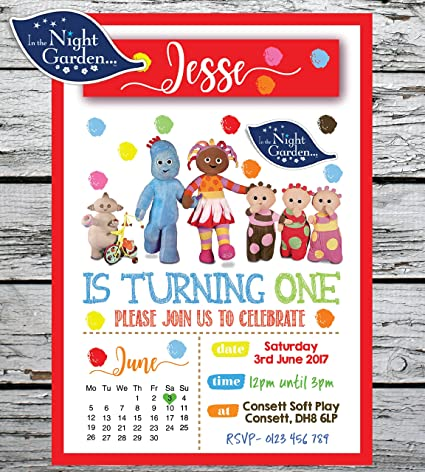 Personal Moments 10 PERSONALISED IN THE NIGHT GARDEN 1ST FIRST BIRTHDAY PARTY INVITATIONS INVITES: Amazon.co.uk: Kitchen & Home