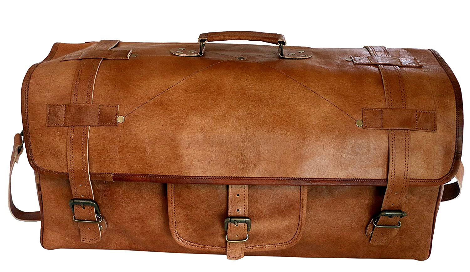 FAB 22 Leather Duffel Bag Holdall Travel Overnight Weekend Gym Sports Luggage