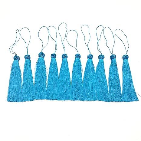 Huele 10pcs azul sedoso hilo borlas marcador de libros con tejido cabeza Chainette borla para fabricación