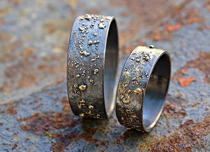 Amazon.com: unique wedding bands gold silver, molten wedding ring ...