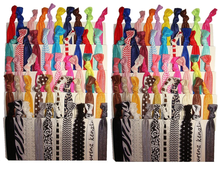 Kenz Laurenz No Crease Elastic Ribbon Ponytail Holders Hair Bands, Prints and Solids, 100 Ties