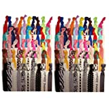 Amazon Price History for:Kenz Laurenz No Crease Elastic Ribbon Ponytail Holders Hair Bands, Prints and Solids, 100 Ties