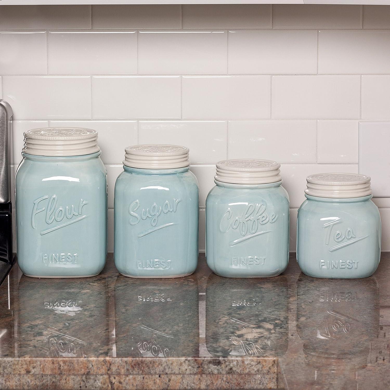 Amazon.com: Mason Jar – Juego de recipientes de cerámica (4 ...