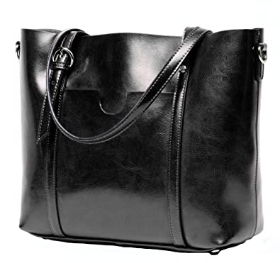 CLELO Women's Tote Bag Vintage Genuine Leather Purse Shoulder Bag ...
