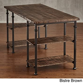Industrial Desk Rustic Wood And Metal Storage Desk with Shelves For The  Home or Office Included