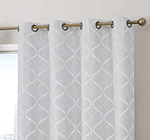 HLC.ME Versailles Lattice Flocked 100% Complete Blackout Thermal Insulated Window Curtain Grommet Panels - Energy Savings & Soundproof, For Living Room & Bedroom, Set of 2 (50 x 84 inches Long, White)