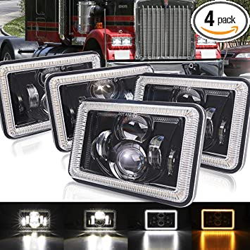 "Conversion 4/""x6/"" DOT 4D LED Headlights Headlamps for Chevy Camaro 1982-1992 4pcs"