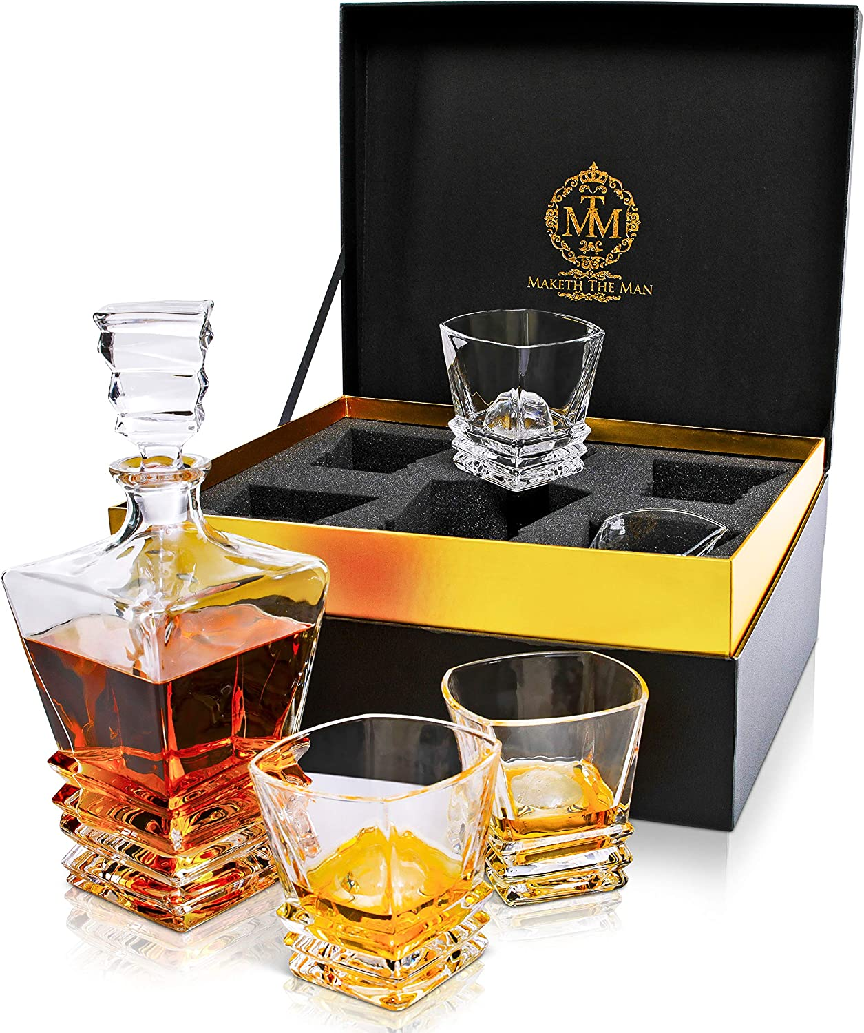 Amazon Com Premium Art Deco Whiskey Decanter Set 27oz Scotch Whisky Decanter In Stunning Gift Box Genuine Lead Free Crystal Bourbon Decanter For Men European Design Decanter And Glasses Glass Fits 2