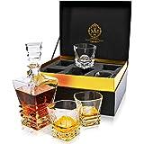 Premium Art Deco Whiskey Decanter Set. 27oz Scotch Whisky Decanter In Stunning Gift Box. Genuine Lead Free Crystal Bourbon De