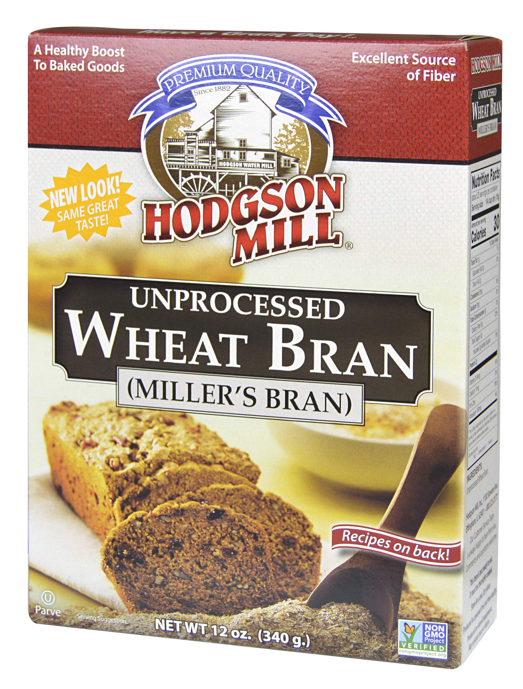 Hodgson Mill Wheat Bran, Unprocessed Millers Bran, 12-Ounce (Pack of 6)