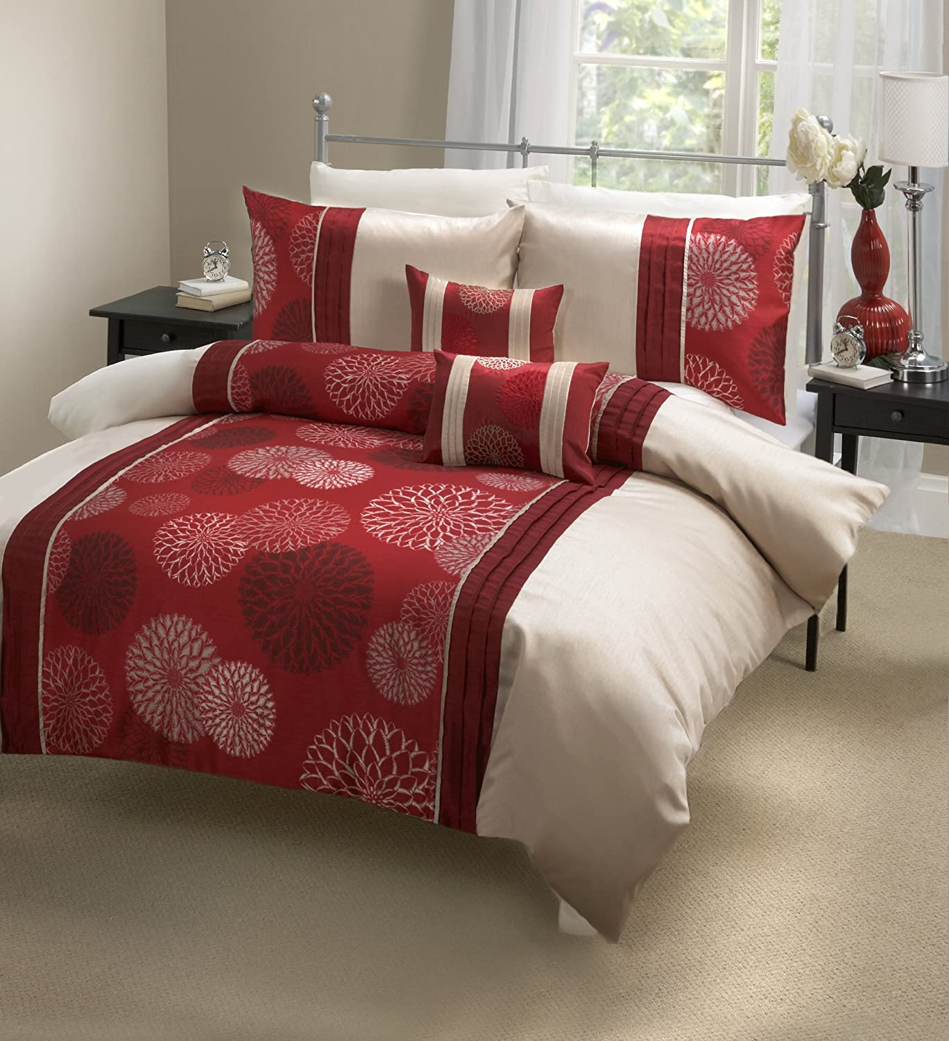 Marseille Single Quilt Set with Coordinating Pillows, Red Dreams & Drapes MLERD11PPD