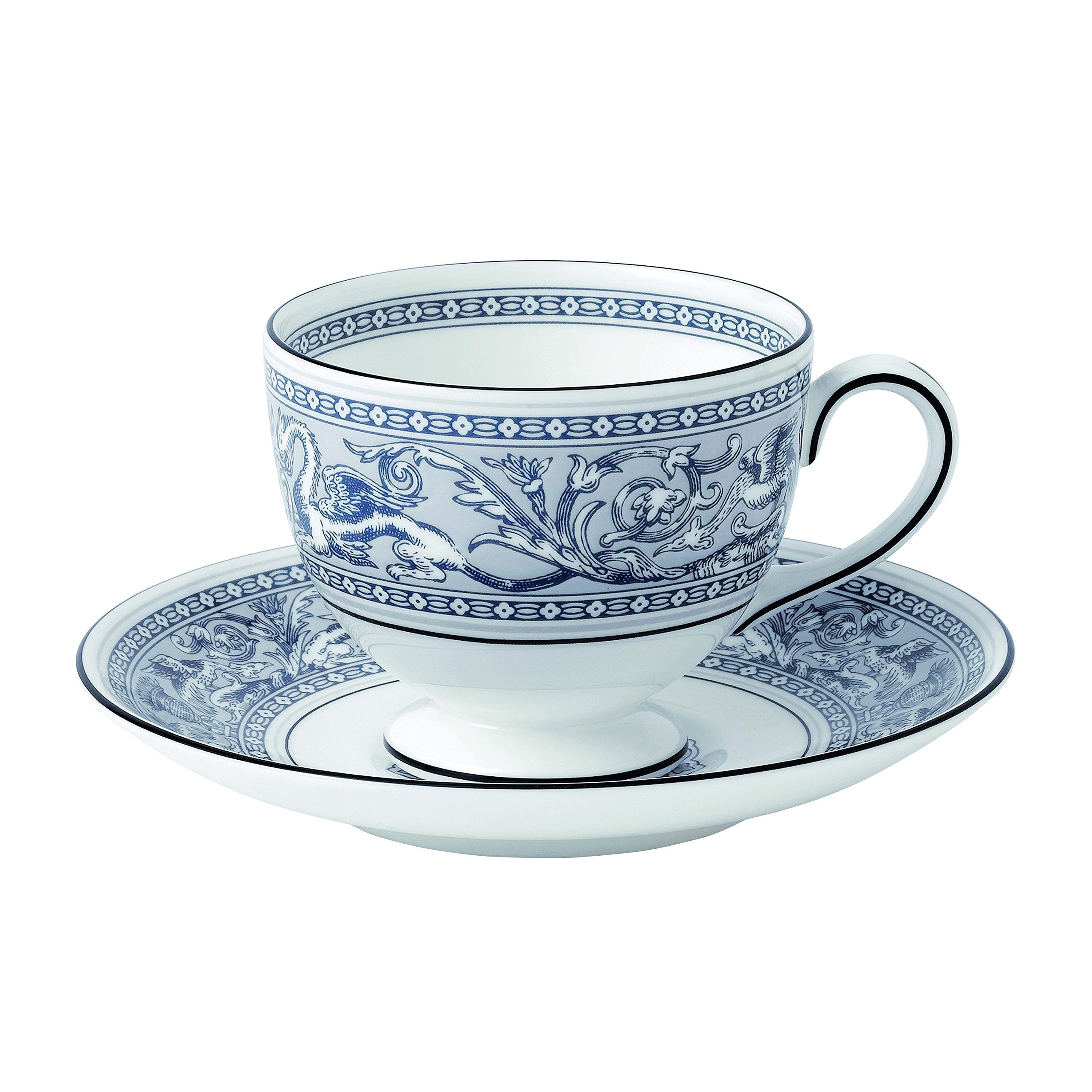 Wedgwood Florentine Teacup & Saucer Set, Indigo White/Blue