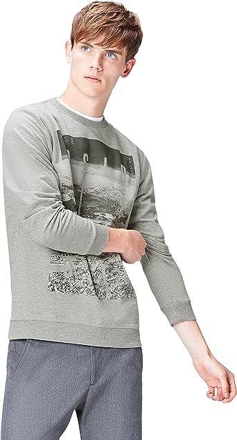 find Brand Mens Oslo Print Crew Neck Sweatshirt