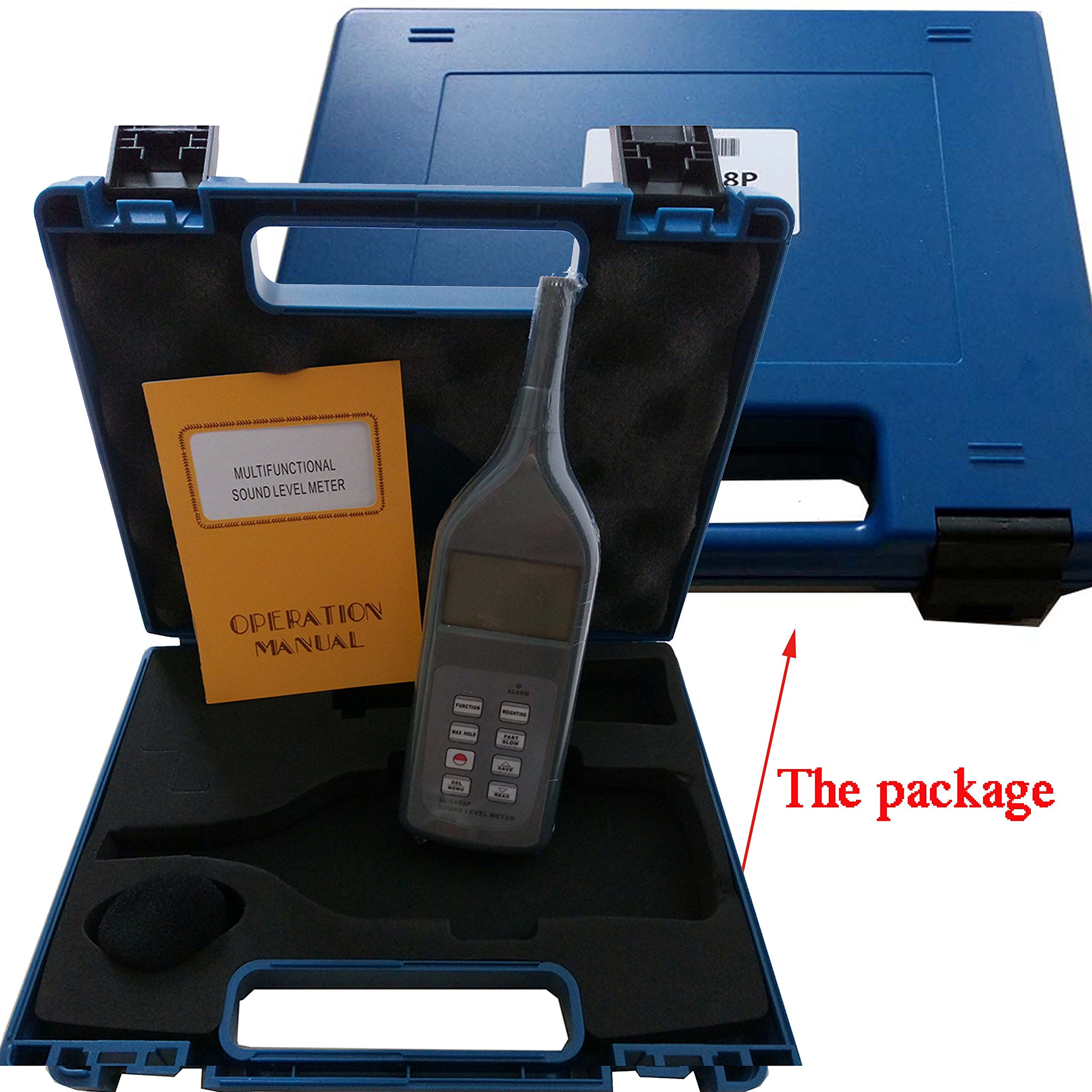 VETUS INSTRUMENTS SL-5868P Professional Digital Sound Level Meter 30 to 130db Noise decibel meter with Multifunctional Sound Level Meter Decibel Logger LCD Display Bluetooth ,Blue
