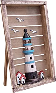 Lighthouse Wall Decor - Nautical Decor Lighthouse - Rustic Coastal Decor for Home - Beach Decor for Home - Rustic Nautical Wall Decor - Bring Some Enchanting Seaside Appeal Into Your Home