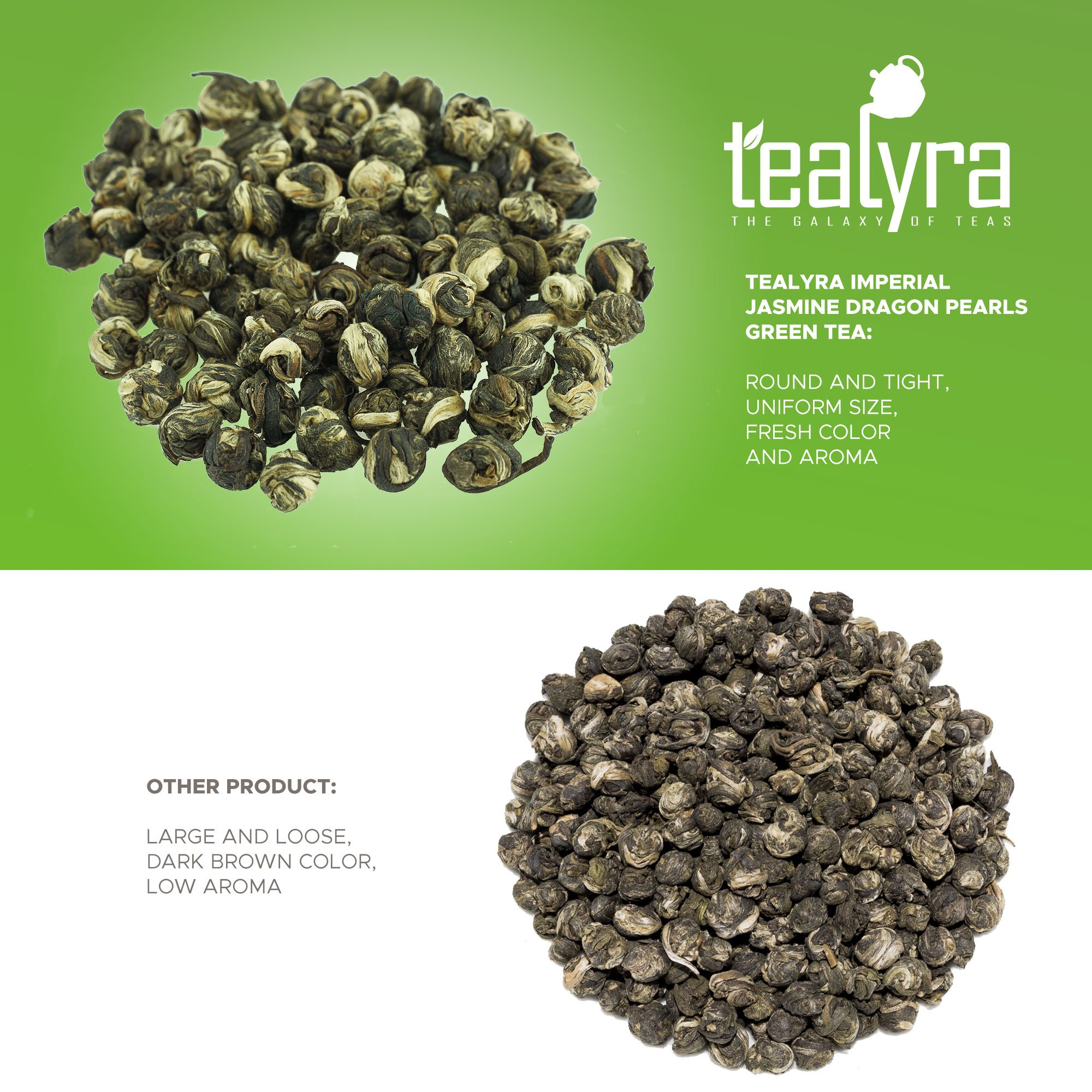 Tealyra - Imperial Jasmine Dragon Pearls - Loose Leaf Green Tea - Jasmine Green Tea with Pleasant Aroma and Tonic Effect - 113g (4-ounce) by Tealyra (Image #1)