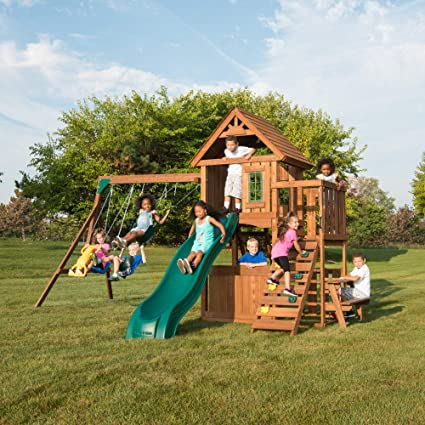 Amazon Com Swing N Slide Ws 8348 Tioga Fort Swing Set Wood Toys