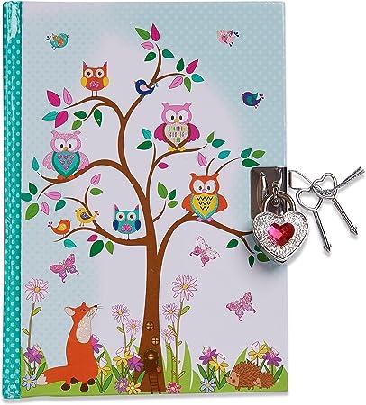 Imagen deDiario infantil secreto con animales del bosque de Lucy Locket con búho y zorro - Diario con candado y llaves