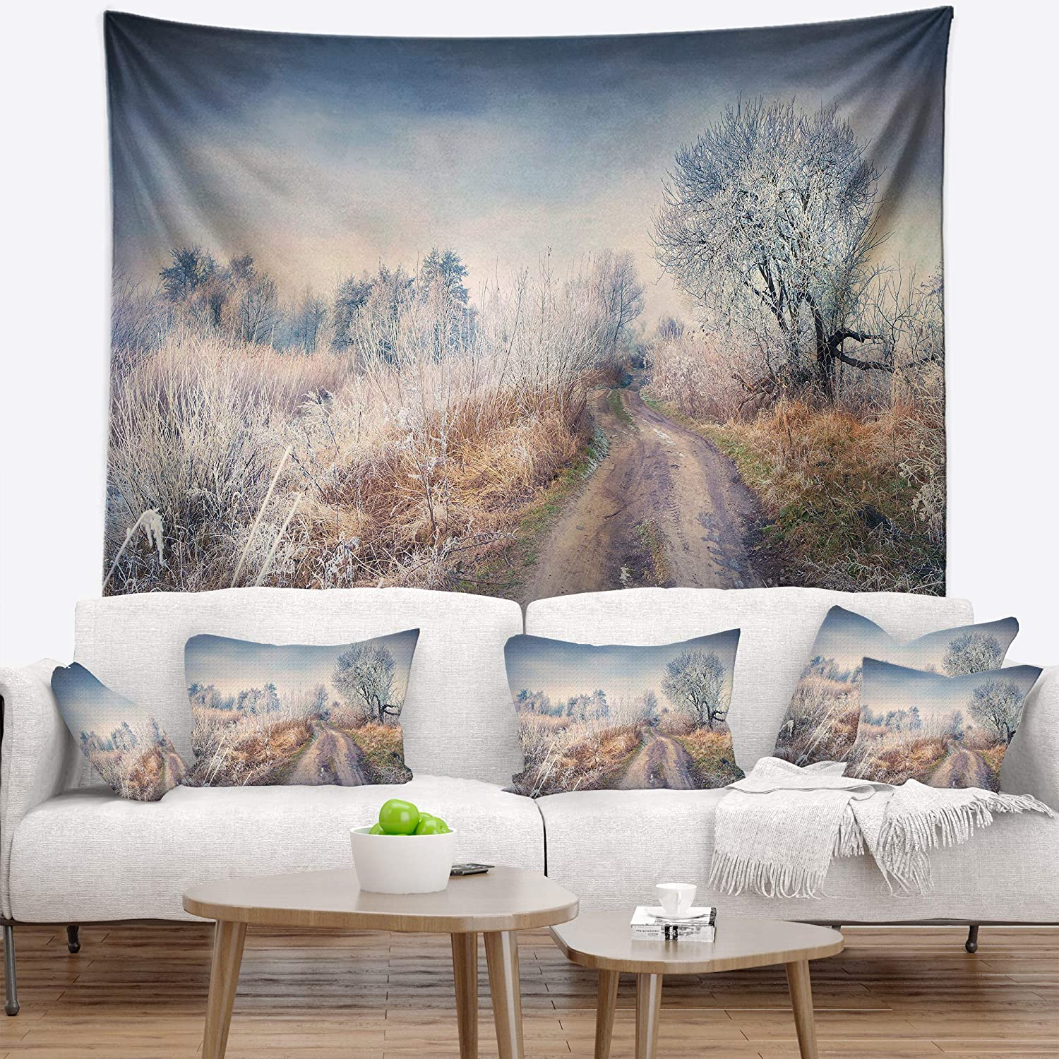 Designart TAP9058-60-50 ' First Frost in Forest' Landscape Photography Blanket Décor Art for Home and Office Wall Tapestry Large: 60 in. x 50 in. Created On Lightweight Polyester Fabric