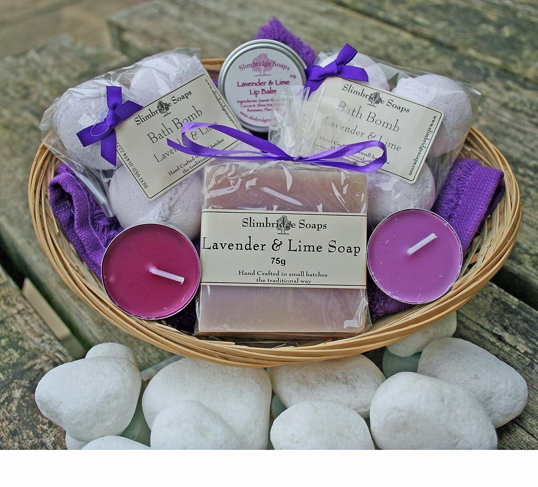 Bath Time Pamper Basket - Lavender & Lime Slimbridge Soaps